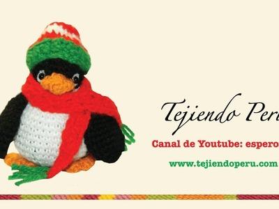 Pingüino de navidad en crochet (amigurumi)