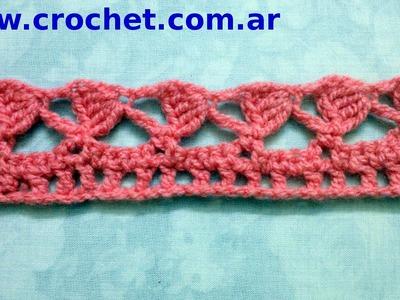Puntilla N° 35 en tejido crochet tutorial paso a paso.