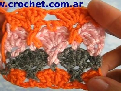 Punto fantasía N° 28 en tejido crochet tutorial paso a paso.