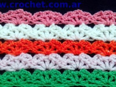 Punto fantasía Nº 72 en tejido crochet tutorial paso a paso.
