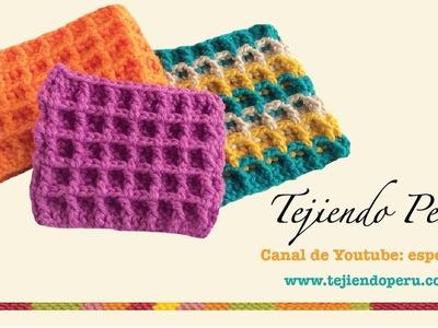 Punto waffle tejido a crochet (tejido abierto y en circular)