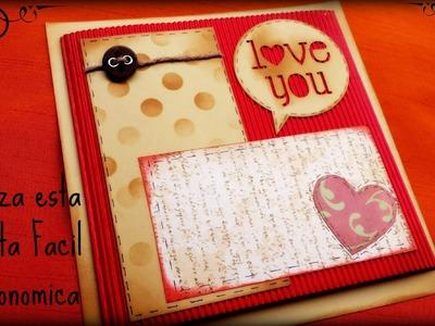 Tarjeta con pocos materiales, Manualidades Scrapbook