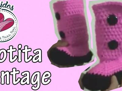 Botitas a crochet para niña - vintage | Tutorial PatyNavaNeri