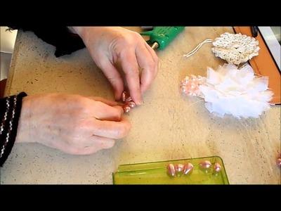 Centro de perlas flores scrapbooking