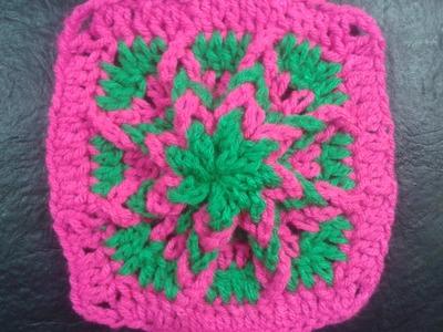 Como hacer un cuadrado a crochet de afuera hacia adentro