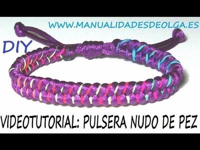 COMO HACER UNA PULSERA DE NUDO DE PEZ PARA HOMBRE MORADA Y COLORES NEON  TUTORIAL DIY