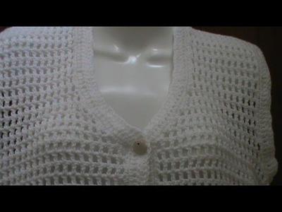 """Cómo tejer un chaleco con puntada de """"casitas"""" o punto red a crochet  1a.parte."""