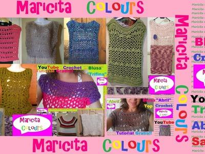 Crochet Blusas Trifina y Abril de Maricita Colours Tejidas por Ustedes!!