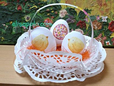 DIY, Cesta o Canasta de Encaje de Papel, Easter Basket Ideas.