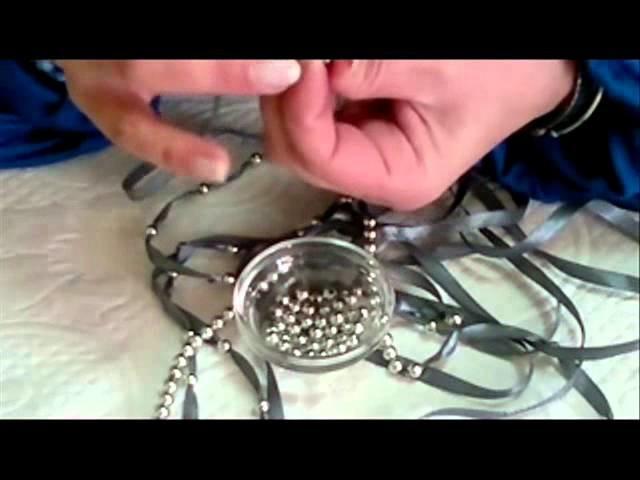 DIY: COMO HACER UN COLLAR DE LAZO CON BOLAS PLATEADAS.Necklace