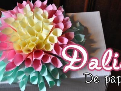 DIY Flor Dahlia de papel. Paper Dahlia