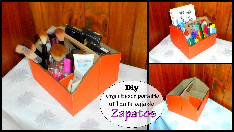 DIY:Organizador para maquillajes o de escritorio (RECICLA tu caja de zapatos)makeup organizer