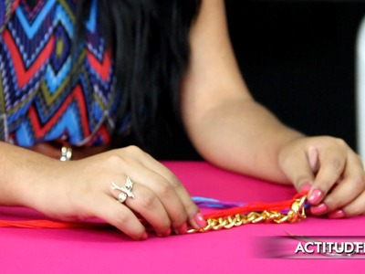 DIY: Tutorial pulsera de eslabón con tejido