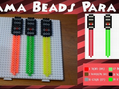 Espada láser (Brilla en UV) - Tutorial Hama Beads