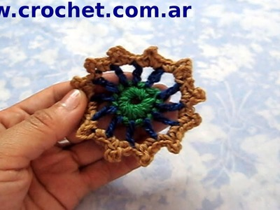Flor N° 19 en tejido crochet tutorial paso a paso.