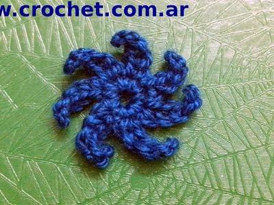 Flor N° 3 en tejido crochet tutorial paso a paso.