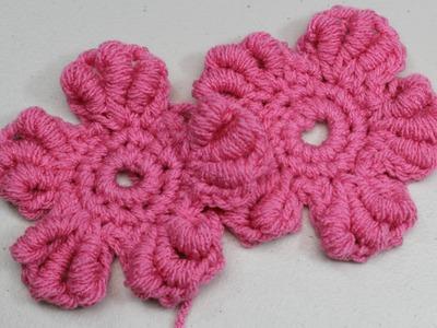 Flor punto gusano en #crochet
