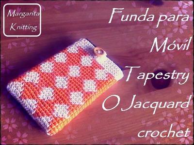 Funda móvil o celular tapestry - jacquard crochet (diestro)