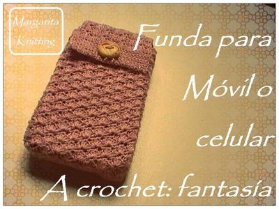 Funda para móvil o celular a crochet: fantasía (zurdo)