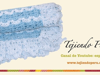 Manta o cobija con borde para bebés tejida a crochet