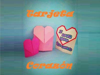 Origami - Papiroflexia. Tarjeta con corazón Regalo San Valentín.