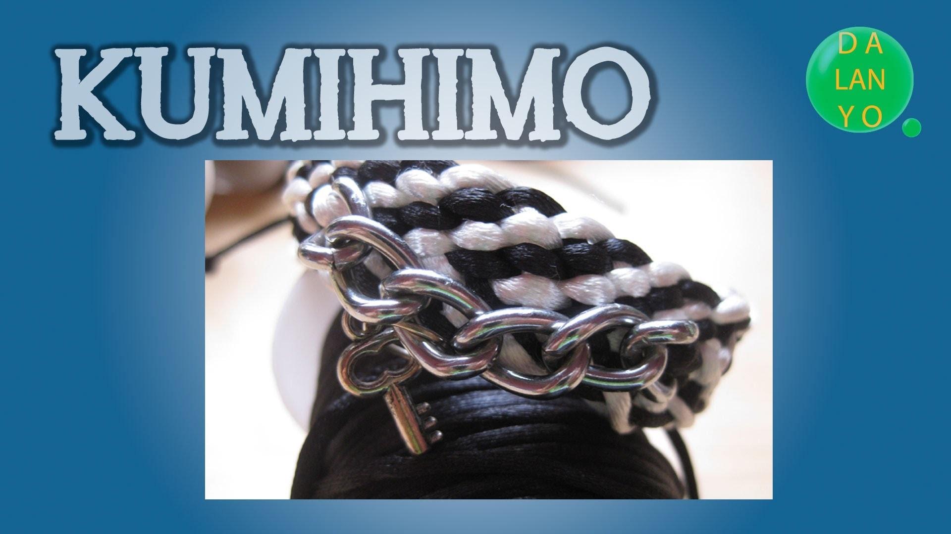 Pulsera blanca y negra cadena | Kumihimo | Tutorial | DIY
