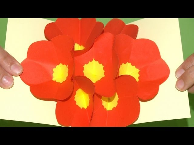 Tarjeta Pop-Up Flores 3D - DIY - 3D Flowers Pop up card (eng. sub.)