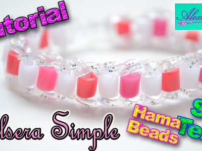 ♥ Tutorial: Pulsera Simple de gomitas con Hama Beads (sin telar) ♥