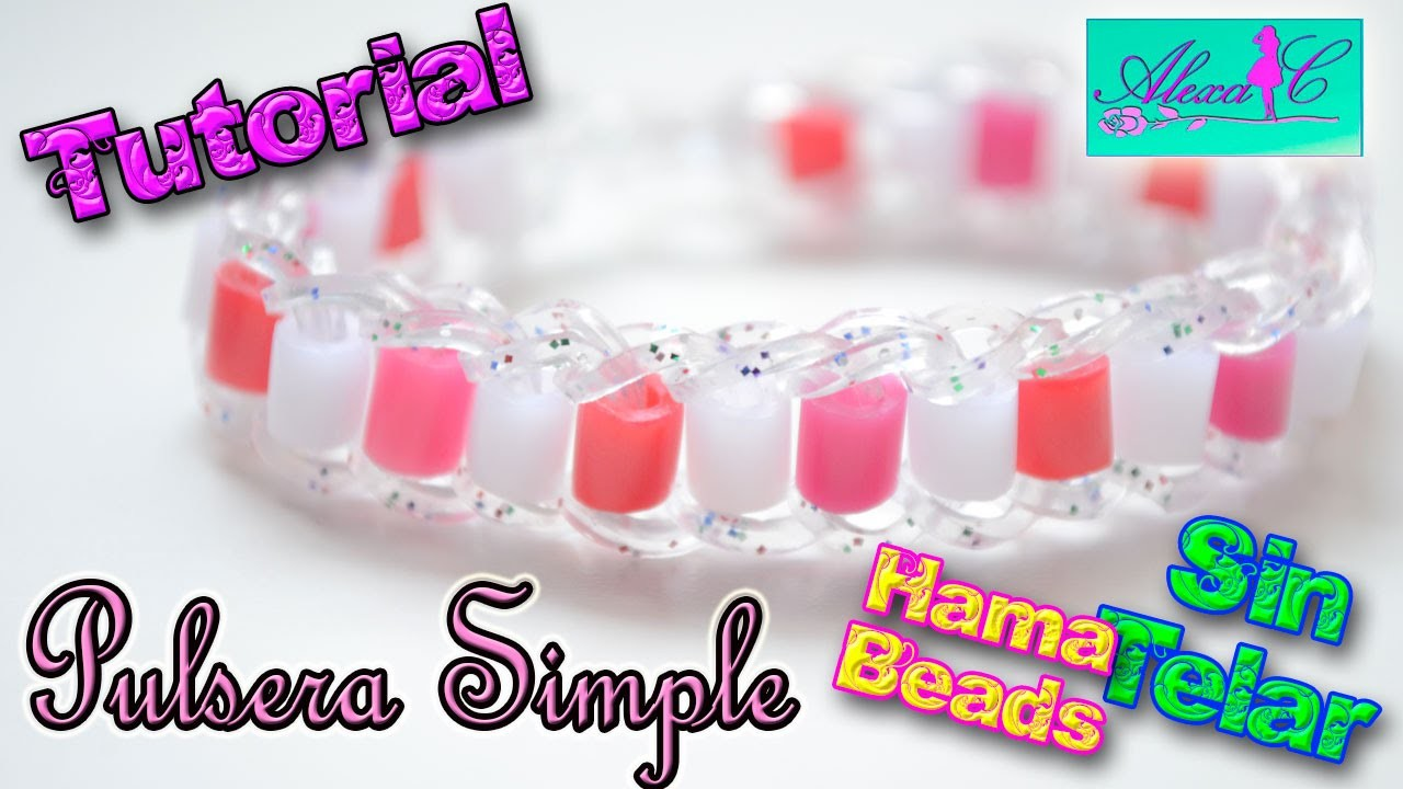 ♥ Tutorial: Pulsera Simple de gomitas con Hama Beads (sin telar) ♥