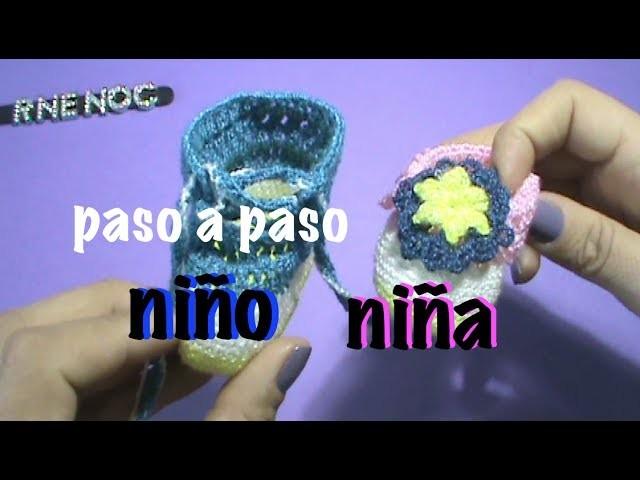 ZAPATITOS PARA BEBE NIÑO NIÑA GANCHILLO