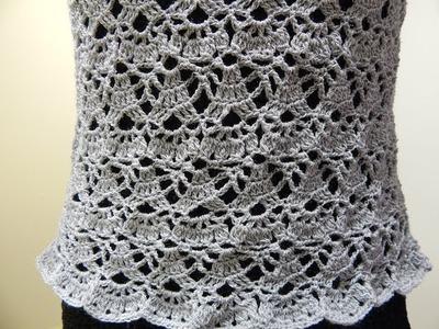 Blusa Gris Crochet parte 2 de 2
