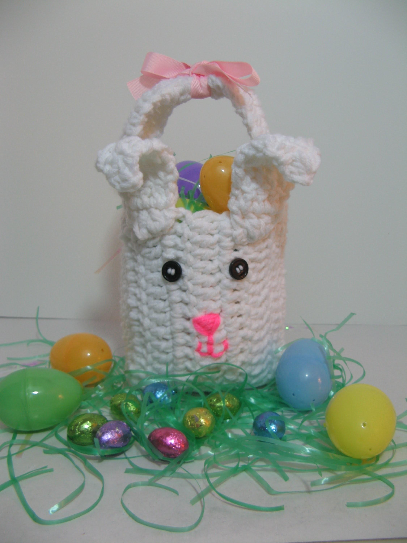 Bolsita de conejo para dia de Pascua hecho en Crochet.Ganchillo