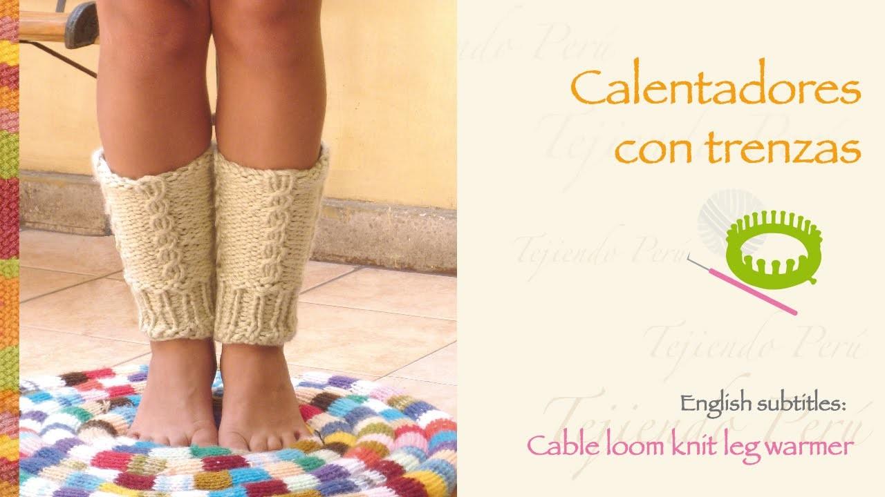 Calentadores tejidos en telar con trenzas. English: cable loom knit leg warmer (boot cuffs)