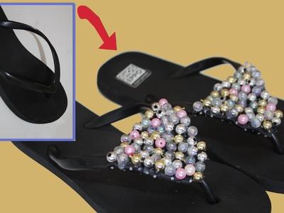 Chanclas con perlas y abalorios. beads flip flops