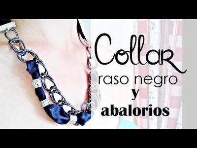 ❥ Collar negro con raso y abalorios | Tutorial Bisutería DIY