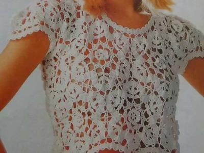 Como hacer blusa tejida a crochet con encaje de brujas