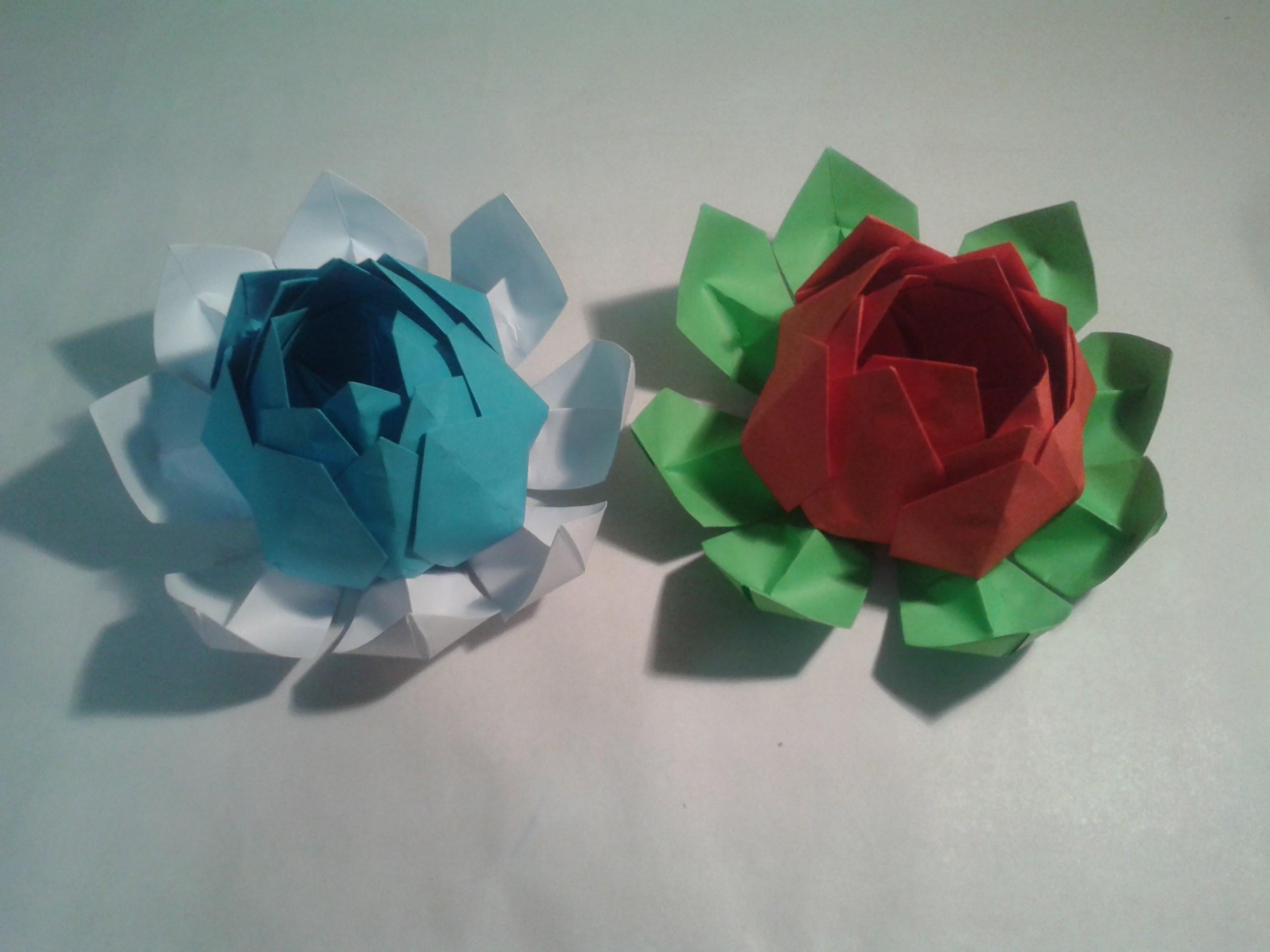 Como hacer una flor de loto (origami)