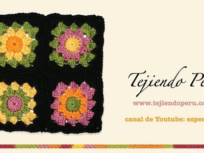 Cómo tejer a crochet un cuadrado o pastilla a colores (granny square)
