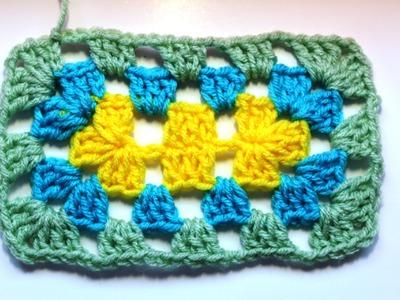 Como tejer un rectangulo en #crochet - punto Granny