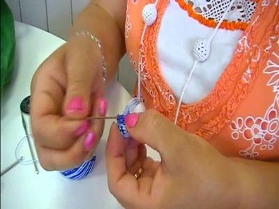 Comparte tu talento: Colgante y pendientes de crochet y canicas.Parte I