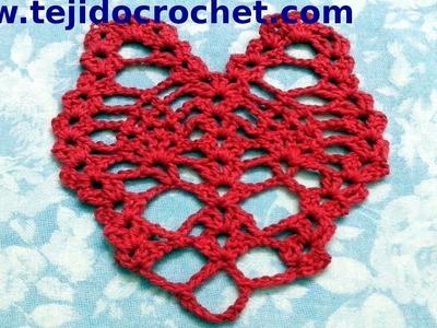 Corazon calado en tejido crochet tutorial paso a paso.