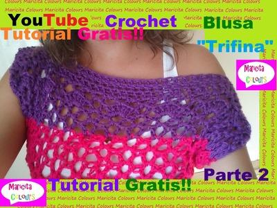 """Crochet Bella Blusa """"Trifina"""" Hombro caído Paso a Paso (Parte 2) por Maricita Colours"""