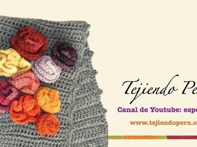 Crochet: bufanda con bobos y flores (parte 2)