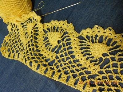 Crochet Orilla  de piñas parte 2 de 2