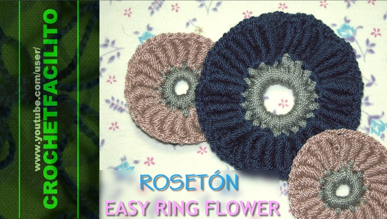 CROCHET - ROSETÓN - EASY RING FLOWER