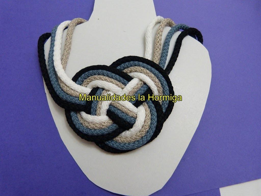 DIY Collares artesanales en cordon de algodon  no. 338 Manualidadeslahormiga