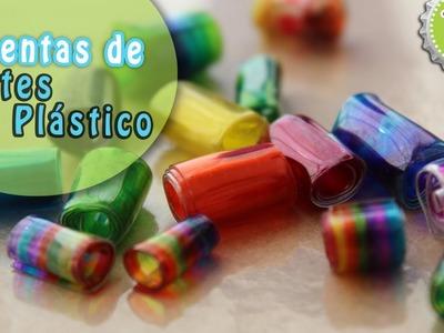 DIY: Cuentas hechas de Botes Plásticos. Plastic bottle beads
