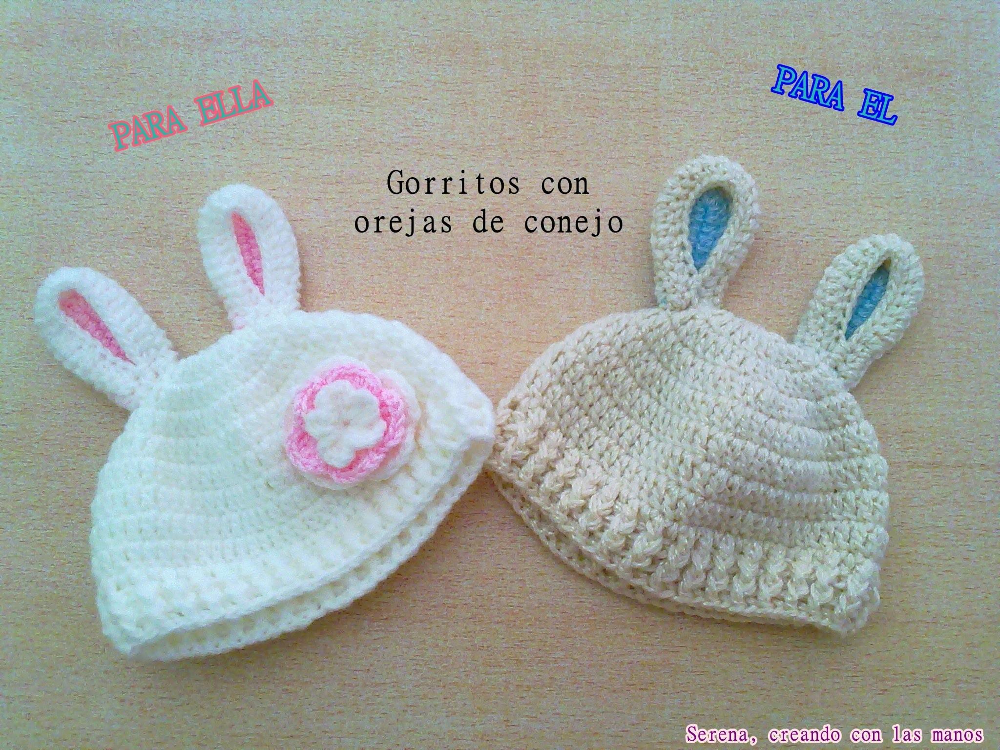 DIY Patron Gorro crochet ganchillo con orejas de conejo para bebe (2 ...