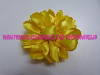 DIY. tutorial de flores grandes en tela santinada. accesorios para el cabello paso a paso  340