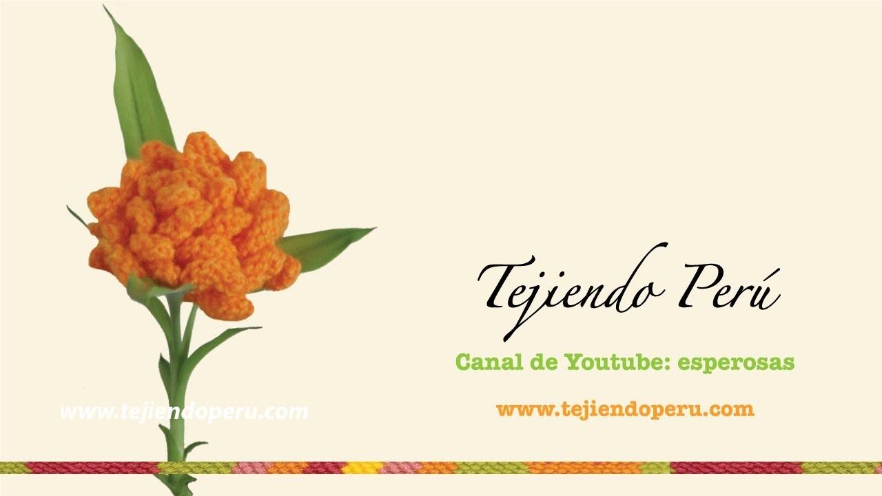 Flor de crisantemo tejida en dos agujas o palillos (knitted crisantemo flower)